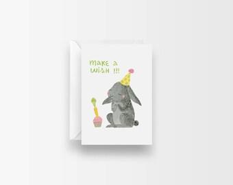 Funny Birthday Card / Cute Birthday Card / Bunny Birthday Card / Cute Animal Birthday / Kids Birthday Card / Make A Wish Birthday Mini Card