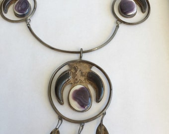 Sterling Silver Purple Shell and Talon Statement Tribal Necklace Vintage 1940