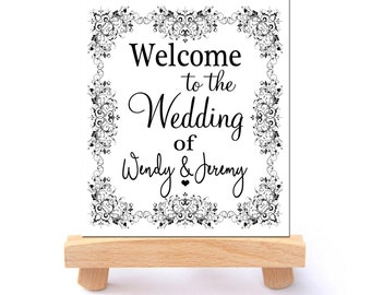 Custom Welcome wedding sign Floral Black and White Elegant Wedding sign Personalized Welcome to our Wedding printable Large DIGITAL DOWNLOAD