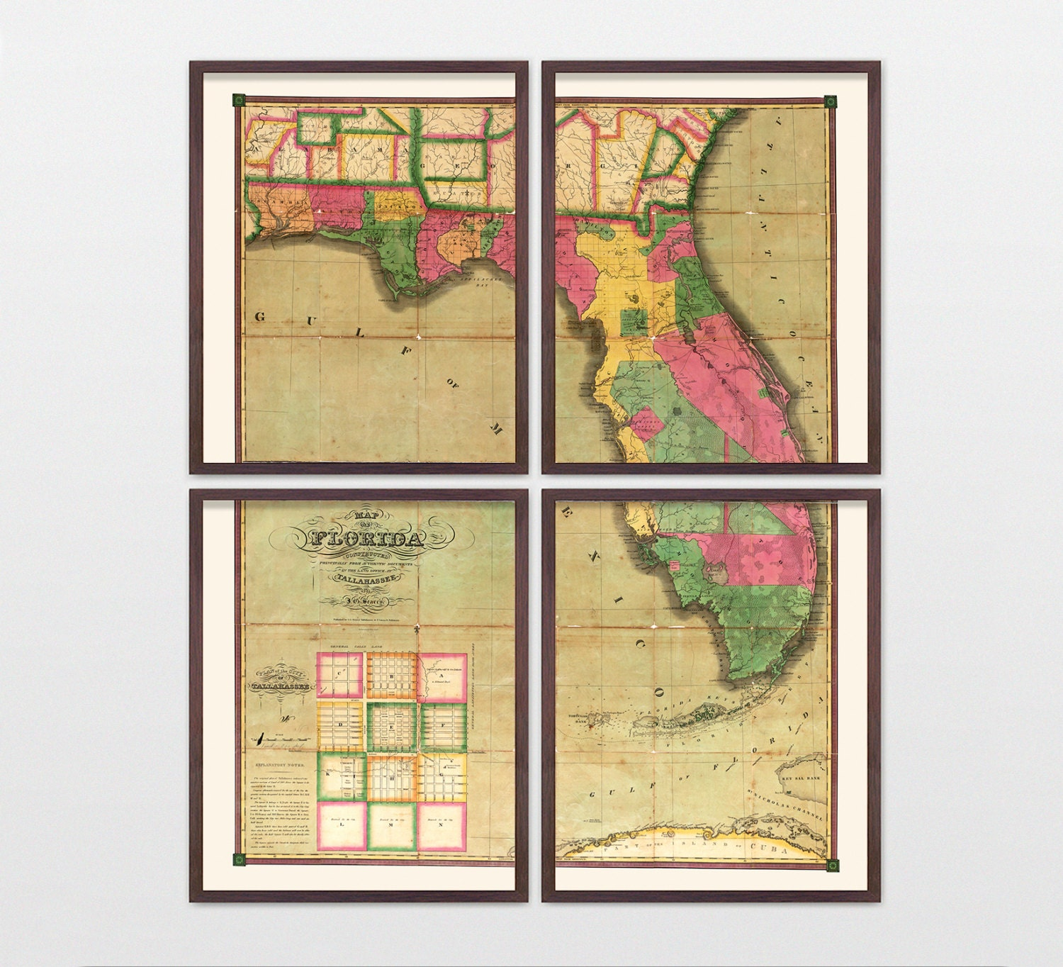 Florida Map - Antique Map - Archival Reproduction - Florida Art ...