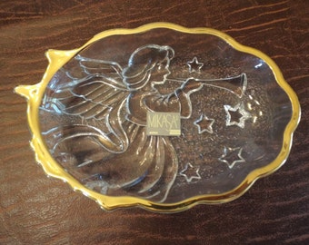 Christmas Mikasa Gold Trimed Angel with Horn Candy Dish  Embossed  Special Occasion Vintage Serving Piece New with Sticker Coupon Code
