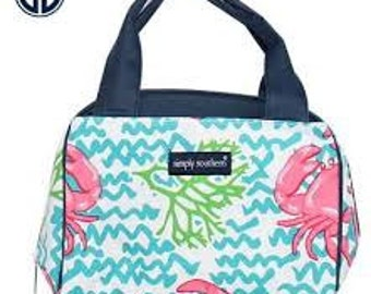 Monogrammed Simply Southern Navy Crab Lunch bag