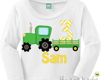 Tractor Birthday Outfit with Name Green Tractor