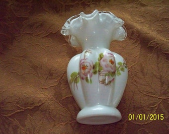 Fenton Silver Crest Melon Milkglass Handpainted Vase