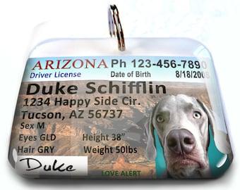 Arizona driver license Custom Pet Tags Small Pet Tag Unique Pet tag