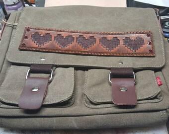 Zelda Messenger Bag custom leather patches