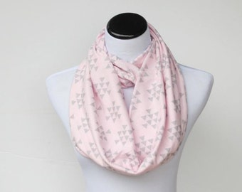 Pastel pink gray scarf, infinity scarf triangle arrow light pink pale pink gray soft jersey knit scarf, circle scarf feminine infinity scarf