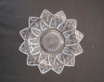 Vintage Federal Glass Petal Pattern 6 1/2 Inch Plates Set of 5