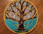 Tree & Seed of Life Combo - Custom Designed Embroidered Patch - Handmade Art. Size 3 1/2 inches, 89 MM,  Round, Sew on patch