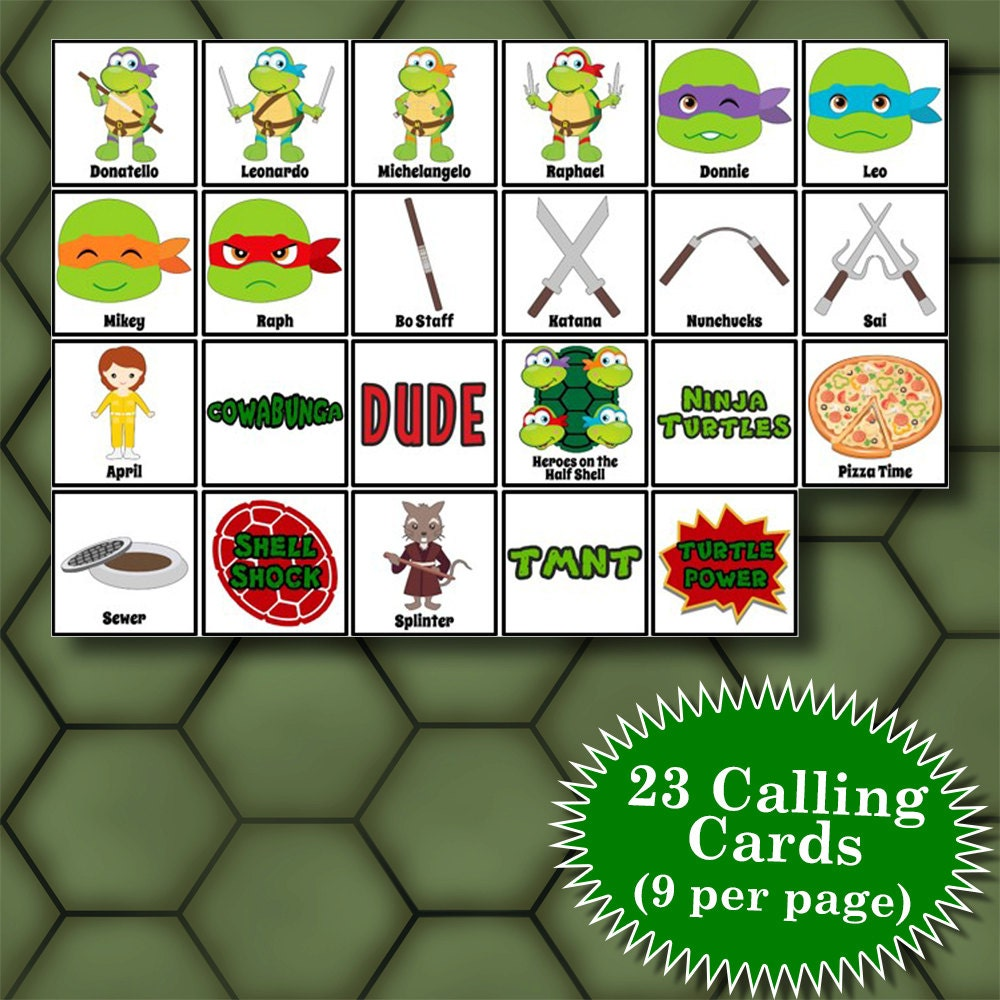 Teenage mutant ninja turtles 4x4 bingo printable pdfs contain for 4x4 bingo template