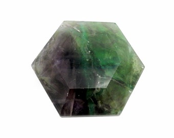 Hexagonal Fluorite Pocket Stone Slab - Pocket  Stone - Hexagonal Stone - Chakra - Metaphysical - Gift Idea (RK32B12b-03)
