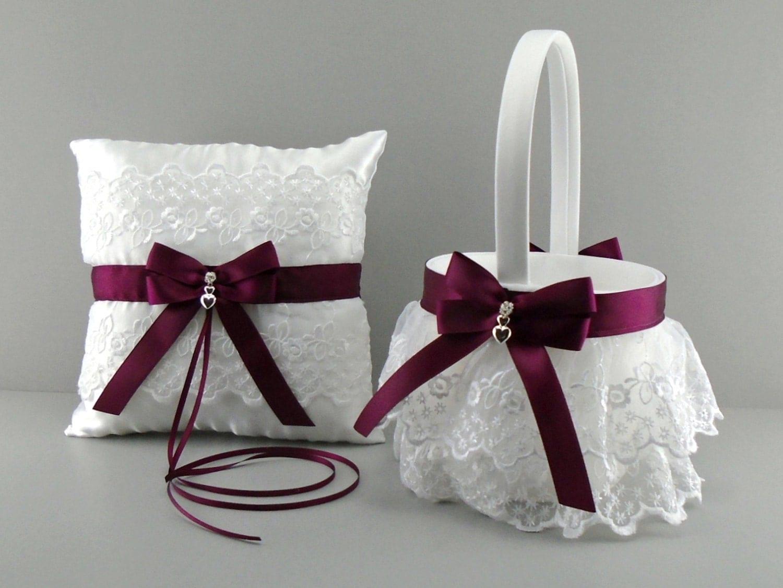 Flower Girl Baskets Canada : Wine wedding bridal flower girl basket and ring bearer pillow