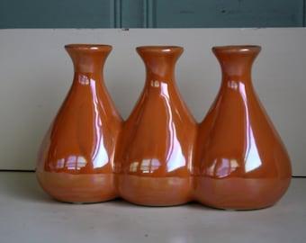 Iridescent Pottery Triple Vase Orange
