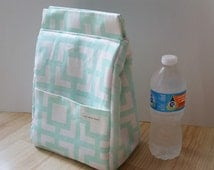 Mint Geometric Insulated Lunch Bag, Insulated Bag, Waterproof Lining