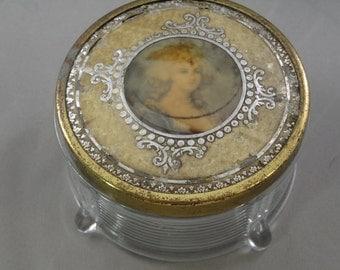 Vintage Glass Vanity/Powder Jar with Decorative Lid
