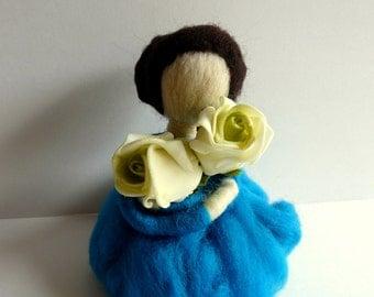 Needle Felted Standing Ornament/ Felting/ Girl With Roses/ Gift/ Figurine/ Fiber Art