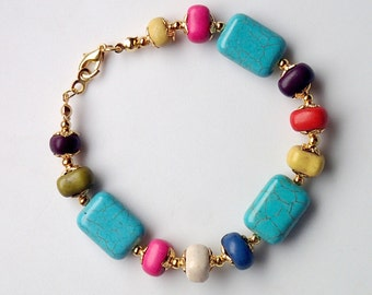 Colorful bracelet, turquoise bracelet, chunky multi color gemstone bracelet, beaded colorful bracelet size L, colorful ethnic boho bracelet