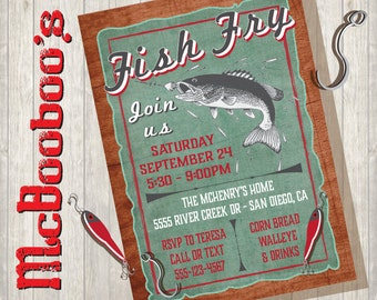 Rustic Vintage Fish Fry Party Poster with old faded green paper and wood background great for Fundraiser or Birthdays
