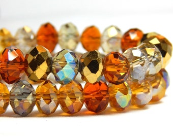 Amber Bead Mix Crystal Rondelles 8x5mm, Multi-Color Crystal Bead Strand Iridescent Crystals Topaz Crystals Golden Crystals Mixed Beads D-C36