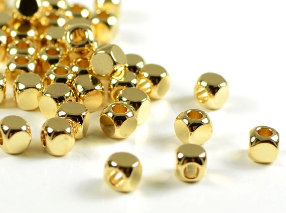 Gold Cube, 4mm, cornerless square spacer beads, rounded square, brass beads, 24k electroplated gold- 25 PCS/order