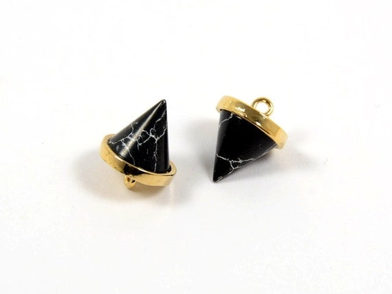 Gemstone Spike Charm/ Pointed Pendant with Black Marble Stone in Anti-tarnish Gold Plating  - 2 pcs/ order