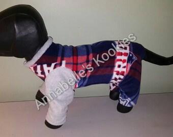 Dog Pajamas, Fleece Dog Pajamas, Boston Sports Pajamas, Patriots Dog Pajamas, Dog Clothing, Dog Apparel