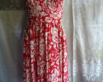 Vintage dress silk  halter red and white tropical flowers
