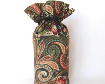 Holiday Gift Bags - Paisley Reusable Gift Bag - Drawstring Christmas Gift Sack - Gift Wrapping - Eco Friendly Fabric Gift Wrap