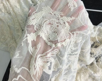 rose silk lace fabric,cotton embroidery on 100% silk fabric,wedding dress fabric,flower embroidery,lace chiffon,embroidery chiffon-F2981