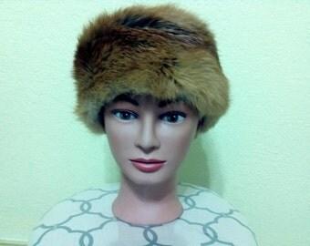 Vintage 1960's/Russian  Red Fox Fur Hat/Red Fox Fur Hat/ Authentic Fox Fur Hat/Vintage Fox Fur Hat/Vintage Fur Hat