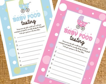Carriage Baby Shower Food Tasting Game Girl/Boy - Digital File - INSTANT DOWNLOAD