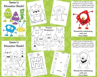 Customized Monster Party Favor Coloring Books SENT BY EMAIL - Personalized Just for You!