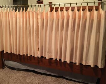 "Vintage Mid Century Cafe Style Curtains Pink - 2 Panels  Each 25"" Long x 70"" Wide - Gold Pinch Clips Included"