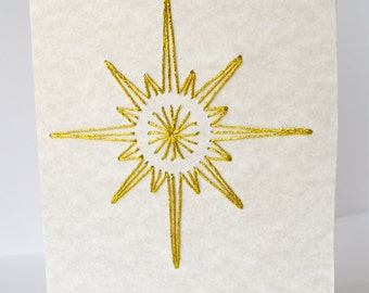 Christmas star card. Embroidered star