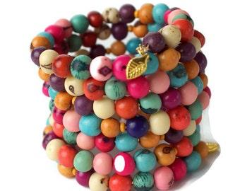 Acai Beads Memory Bracelet, Wide bracelet, Spring Bracelet, organic acai bracelet, Stacking Bracelet