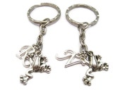 Frog Keychain Set Pesonalized Tree Frog Keychains Letter Best Friends Gift Mother Daughter Jumping Frog Keychain Gifts Under 20