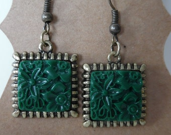 Green earrings, dangle earrings, bronze earrings