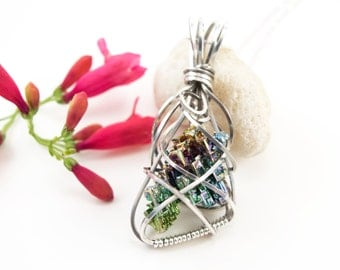Bismuth crystal necklace - Argentium sterling silver wire wrapped bismuth crystal pendant - Bismuth crystal jewelry