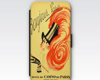 Wallet Case for iPhone 8 Plus, iPhone 8, iPhone 7 Plus, iPhone 7, iPhone 6, iPhone 6s, iPhone 5/5s - Bonjour Paris Vintage French Ad