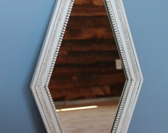 Vintage Shabby Chic Cottage Farmhouse Style Wood Diamond Shaped Mirror