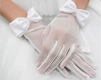 Wrist White Wedding satin Tulle Silk Gloves Bridal Gloves Handmade White See Through tulle Bridal Lace gloves prom gloves