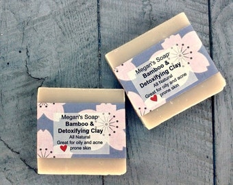 Bar soap, bamboo and clay soap, soap for oily acne prone skin, clear skin