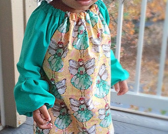 Fairy in Lemon drop baby & toddler dress • bell sleeve dress• long sleeve • Made to order