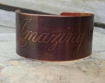 Copper Cuff Bracelet with Copper Etched Amazing Grace Design