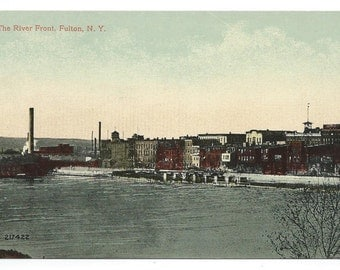 Fulton, New York The River Front Early Divided Back Old Postcard (Unposted)