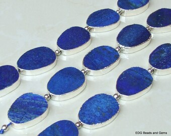 ON SALE - Lapis Lazuli Oval Slabs - Lapis - Center Drilled - Slab Bead - Lapis Connector - Silver Edge - Full Strand 30mm x 40mm