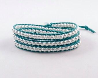 Wrap Bracelet, White and Turquoise, Swarovski pearl and leather wrap bracelet