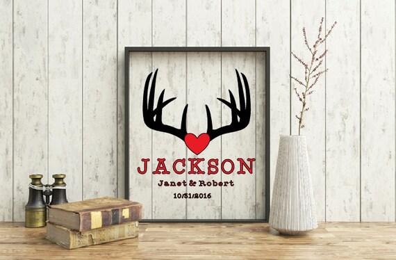 Personalized buck antler wedding  gift frame,  Deer silhouette decor, Deer Antlers, Stag silhouette, Hunter's Anniversary frame, Hunting