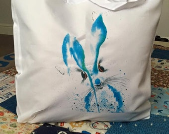 Brian Button shopping bag #shopping bags #bags #hareart #art#delphinesartfromtheheart #animalart