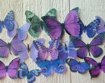 Edible Pastel-Purple Butterfly / Edible Cake / Cupcake Toppers, (24)